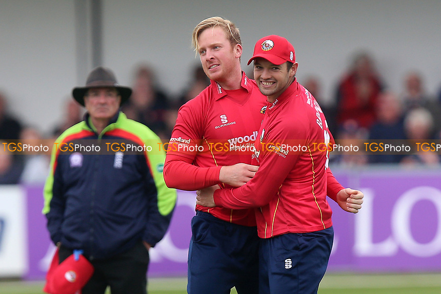 Simon Harmer of Essex celebrates taking the wicket of Michael Klinger during Essex Eagles vs Gloucestershire, Royal London One-Day Cup Cricket at The Cloudfm County Ground on 4th May 2017