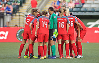 Portland, OR - Saturday August 19, 2017: Thorns huddle up before the match during a regular season National Women's Soccer League (NWSL) match between the Portland Thorns FC and the Houston Dash at Providence Park.