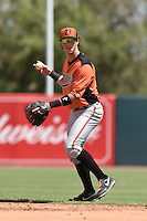 Baltimore Orioles second baseman Stephen Wilkerson (17) during an Instructional League game against the Tampa Bay Rays on September 15, 2014 at Ed Smith Stadium in Sarasota, Florida.  (Mike Janes/Four Seam Images)