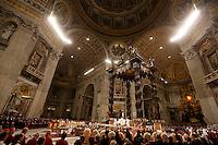 Papa Francesco celebra la messa della Notte di Natale, nella Basilica di San Pietro, Citta' del Vaticano, 24 dicembre 2016.<br /> Pope Francis celebrates the Christmas Eve mass in St. Peter's Basilica, Vatican, 24 December 2016.<br /> UPDATE IMAGES PRESS/Riccardo De Luca<br /> <br /> STRICTLY ONLY FOR EDITORIAL USE