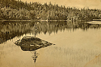 Old postcard of a northern lake