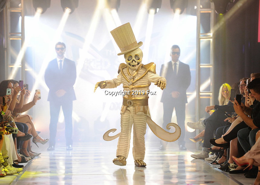 "BEVERLY HILLS - SEPTEMBER 10:  Skeleton at the Season two premiere event for FOX's ""The Masked Singer"" at The Bazaar at the SLS Beverly Hills on September 10, 2019 in Beverly Hills, California. (Photo by Scott Kirkland/FOX/PictureGroup)"