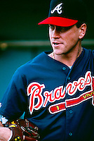 Tom Glavine of the Atlanta Braves during a game at Dodger Stadium in Los Angeles, California during the 1997 season.(Larry Goren/Four Seam Images)