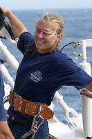Caribbean cruise with Sea Cloud II. The crew setting sails. Helen from Denmark enjoys this trhe most.