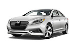 Stock pictures of low aggressive front three quarter view of 2016 Hyundai Sonata-Plug-in-Hybrid Limited 4 Door Sedan Low Aggressive