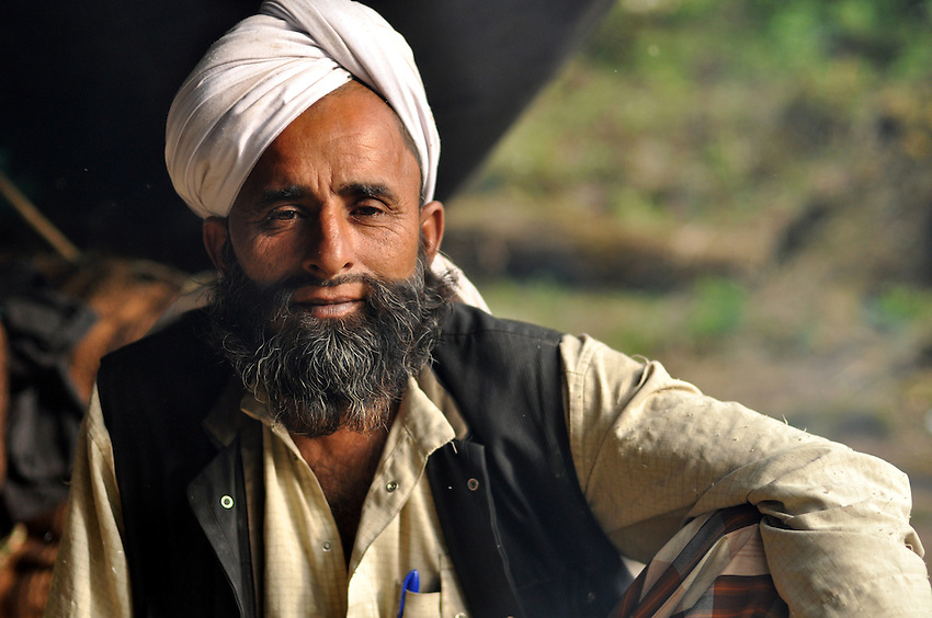 A Van Gujjar leader in the forest.
