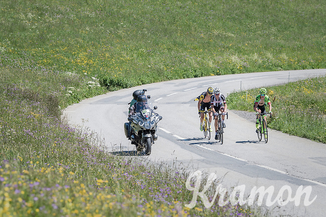 Warren Barguil (FRA/Sunweb), Thomas Voeckler (FRA/Direct Energie) &amp; Simon Clarke (AUS/Cannondale-Drapac) trying to overbridge the gap from the peloton to race leader Tony Gallopin up ahead on the Col de Saisies (Cat1/1663m)<br /> <br /> 69th Crit&eacute;rium du Dauphin&eacute; 2017<br /> Stage 8: Albertville &gt; Plateau de Solaison (115km)