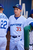 Justin Lewis (33) of the Ogden Raptors before the game against the Orem Owlz at Lindquist Field on June 19, 2018 in Ogden, Utah. The Raptors defeated the Owlz 7-2. (Stephen Smith/Four Seam Images)