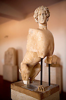 Classical Sphinx attributed to Greek Sculptor Kalamis from the temple of apollo, The Greek archaeological site of Ancient Aegina, Kolna, Greek Saronic Islands