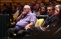 Mark Heyer, the father of Heather Heyer who was killed when a vehicle drove into a crowd of counter-protestors after the Unite The Right rally, shows emotion during a memorial service for his daughter Wed., August 16, 2017, at the Paramount Theater in Charlottesville, Va. Heyer was killed the previous weekend when a vehicle drove into a crowd of counter-protestors after the Unite The Right rally. Photo/Andrew Shurtleff