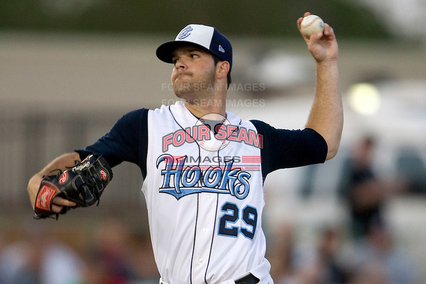 Corpus Christi Hooks pitcher Dallas Keuchel #29 delivers during the Texas League All Star Game played on June 29, 2011 at Nelson Wolff Stadium in San Antonio, Texas. The South defeated the North 3-2 in the contest. (Andrew Woolley / Four Seam Images)