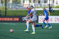 Boston, MA - Saturday June 24, 2017: Adriana Leon and Jaelene Hinkle during a regular season National Women's Soccer League (NWSL) match between the Boston Breakers and the North Carolina Courage at Jordan Field.