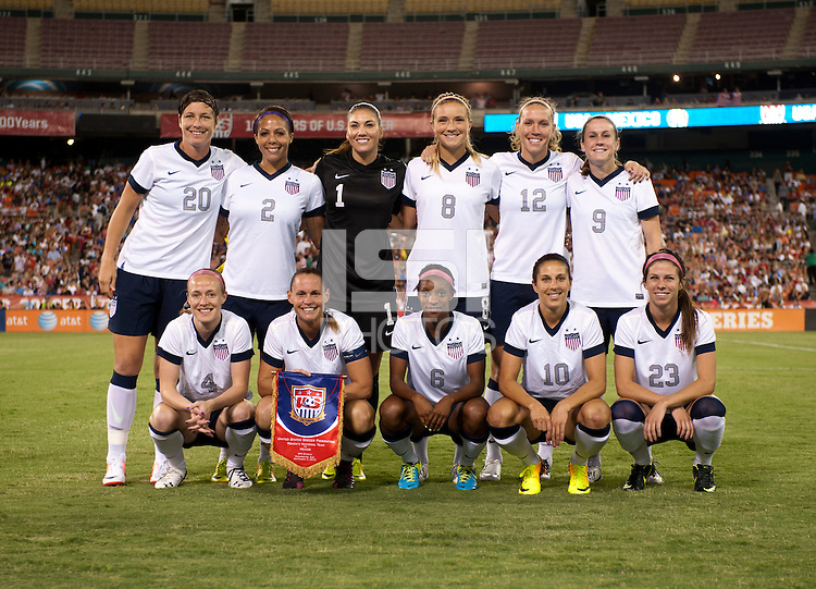 The USWNT lines up before an international friendly at RFK Stadium in Washington, DC.  The USWNT defeated Mexico, 7-0.