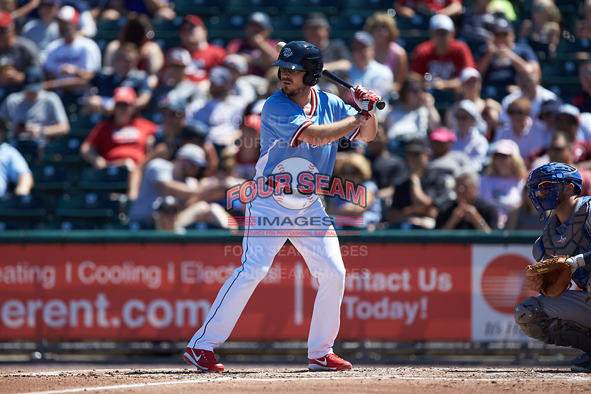 Brock Stassi (7) of the Lehigh Valley Iron Pigs at bat against the Durham Bulls at Coca-Cola Park on July 30, 2017 in Allentown, Pennsylvania.  The Bulls defeated the IronPigs 8-2.  (Brian Westerholt/Four Seam Images)