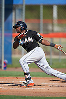 GCL Marlins outfielder Yuniel Ramirez (31) at bat during the first game of a doubleheader against the GCL Mets on July 24, 2015 at the St. Lucie Sports Complex in St. Lucie, Florida.  GCL Marlins defeated the GCL Mets 5-4.  (Mike Janes/Four Seam Images)