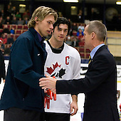 Both Erik Johnson (Bloomington, Minnesota - University of Minnesota) and Kristopher Letang (Ste-Julie, QC - Foreurs de Val d'Or) were named Media All-Stars. Team Canada (gold), Team Russia (silver) and Team USA line up for the individual awards and team medal presentations following Team Canada's 4-2 victory over Team Russia to win the gold in the 2007 World Championship on Friday, January 5, 2007 at Ejendals Arena in Leksand, Sweden.