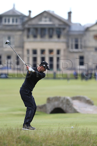 19.07.2015. Old Course, St Andrews, Fife, Scotland. Adam Scott of Australia in action on the 18th hole<br />