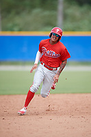 Philadelphia Phillies Arquimedes Gamboa (30) runs the bases during an Instructional League game against the Toronto Blue Jays on October 7, 2017 at the Englebert Complex in Dunedin, Florida.  (Mike Janes/Four Seam Images)