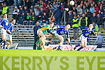 Flying Objects: Kerins O'Rahilly's Timmy O'Sullivan (centre) keeps his eyes firmly on the ball as South Kerry's Aidan O'Sullivan loses his balance. Kerins O'Rahillys v  South Kerry in the AIB County Senior Football Championship Semi Final at Fitzgerald Stadium on Sunday..KERINS O'RAHILLYS 2-13 SOUTH KERRY 2-13