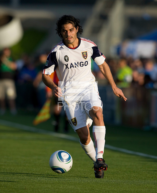 Fabian Espindola of Real Salt Lake in action during the game against Earthquakes at Buck Shaw Stadium in Santa Clara, California on March 27th, 2010.   Real Salt Lake defeated San Jose Earthquakes, 3-0.