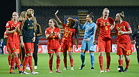 20190903 - LEUVEN , BELGIUM : Belgian players Julie Biesmans , Davina Philtjens , Kassandra Missipo , Nicky Evrard , Tine De Caigny and Laura Deloose pictured celebrating after winning the female soccer game between the Belgian Red Flames and Croatia , the first womensoccer game for Belgium in the qualification for the European Championship round in group H for England 2021, Tuesday 3 th September 2019 at the King Power Stadion Den Dreef in Leuven , Belgium. PHOTO SPORTPIX.BE | DAVID CATRY