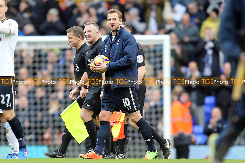 Harry Kane of Tottenham Hotspur leaves with the match ball after scoring a hat trick during Tottenham Hotspur vs Stoke City, Premier League Football at White Hart Lane on 26th February 2017