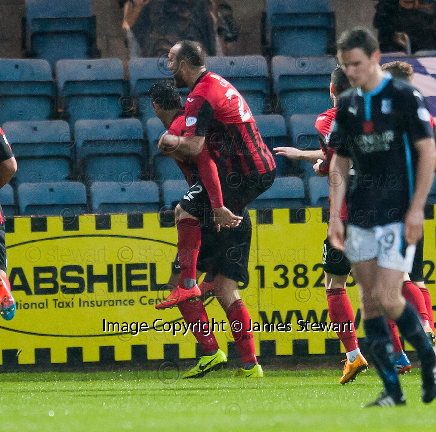 St Johnstone's Brian Graham celebrates with Lee Croft after he scores from the penalty spot.