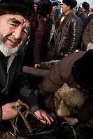Uighurs arrive at the Kashgar Sunday Animal Market with lambs and sheep for sale outside Kashgar, Xinjiang, China.