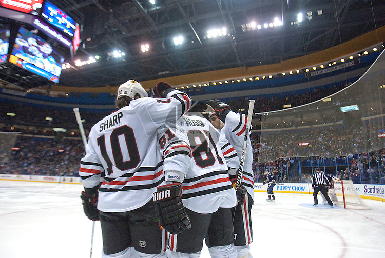 January 2,  2010                         Blackhawks players celebrate a third period goal against the Blues.  The St. Louis Blues hosted the Chicago Blackhawks on Saturday January 2, 2010 at the Scottrade Center in downtown St. Louis.