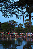 Tourists gathering during Sunrise at Angkow Wat, Cambodia