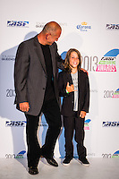 SURFERS PARADISE, Queensland/Australia (Friday, March 1, 2013) Martin Potter (GB) with his son Jack.- The world's best surfers congregated last night at the QT Hotel in Surfers Paradise to celebrate the 2013 ASP World Surfing Awards, officially crowning last year's ASP World Champions and welcoming in the new year..Joel Parkinson (AUS), 31, long considered to be a threat to the ASP World Title ever since his inception amongst the world's elite over a decade ago, was awarded his maiden crown last night. Amidst a capacity crowd of the world's best surfers and hometown supporters, the Gold Coast stalwart brought the house down with a heartfelt and emotional speech..?It's beautiful to have everyone here tonight,? Parkinson said. ?We all come together and really celebrate last season amongst our friends and family. The new year, for me, begins tomorrow. Tonight, I just feel so fortunate to be up here and to be supported by my beautiful family. I love them and am only here because of them.?.FULL LIST OF AWARDS' RECIPIENTS:.2012 ASP World Champion: Joel Parkinson (AUS).2012 ASP World Runner-Up: Kelly Slater (USA).2012 ASP Rookie of the Year: John John Florence (HAW).2012 ASP Women's World Champion: Stephanie Gilmore (AUS).2012 ASP Women's World Runner-up: Sally Fitzgibbons (AUS).2012 ASP Women's Rookie of the Year: Malia Manuel (HAW).2012 ASP Breakthrough Performer: Sebastian Zietz (HAW).2012 ASP Women's Breakthrough Performer: Lakey Peterson (USA).2012 ASP World Longboard Champion: Taylor Jensen (USA).2012 ASP Women's World Longboard Champion: Kelia Moniz (HAW).2012 ASP World Junior Champion: Jack Freestone (AUS).2012 ASP Women's World Junior Champion: Nikki Van Dijk (AUS).ASP Life Member/Chairman Emeritus: Richard Grellman.ASP Service to the Sport: Randy Rarick.Peter Whittaker Award: Adrian Buchan.2012 ASP Men's Heat of the Year (Fan Vote): Mick Fanning (AUS) vs. Kelly Slater (USA) - Rip Curl Pro Bells Beach.2012 ASP Women's Heat of the Year (Fan Vote): Laura Enever (AUS