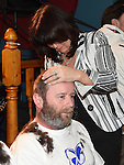 Ian McGoldrick has his head shaved by Maria Galligan to raise funds for the Gary Kelly Cancer Support Centre in the Boyne Valley Inn Slane. Photo:Colin Bell/pressphotos.ie