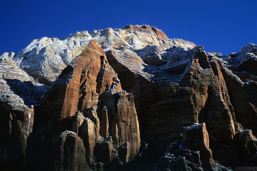 A dusting of snow covers the canyon walls of Zion National Park, Utah.