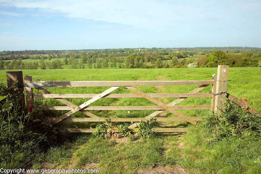 View over Dedham Vale to Dedham, River Stour valley from near Flatford, Suffolk, England