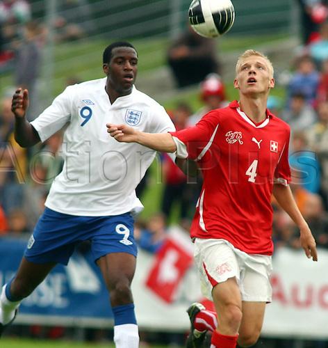 02 06 2011  02.06.2011. Mens U-19 International Football Match.  international match Switzerland versus England, finsihed 2-3 to England.  Michael Ngoo left England against Saulo Decarli Switzerland