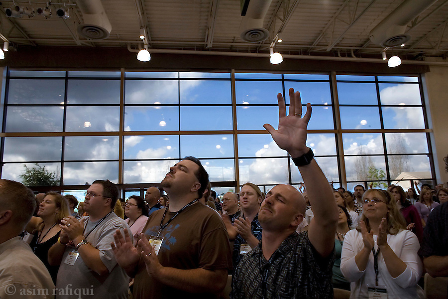 Worshippers during a service at the main workship center<br />
