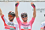 Maglia Rosa Jan Polanc (SLO) UAE Team Emirates at sign on before the start of Stage 13 of the 2019 Giro d'Italia, running 196km from Pinerolo to Ceresole Reale (Lago Serrù), Italy. 24th May 2019<br /> Picture: Massimo Paolone/LaPresse | Cyclefile<br /> <br /> All photos usage must carry mandatory copyright credit (© Cyclefile | Massimo Paolone/LaPresse)