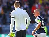 June 10th 2017, Hampden park, Glasgow, Scotland; World Cup 2018 Qualifying football, Scotland versus England; Fraser Forster catches up with ex team mate Scott Brown