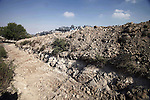The trench dug by Israeli bulldozers is seen in east Jerusalem on Sept. 09, 2013. Israeli bulldozers on Monday began to construct a dividing zone between the Palestinian town of Isawiya and the Israeli settlement of French Hill in East Jerusalem. Photo by Saeed Qaq