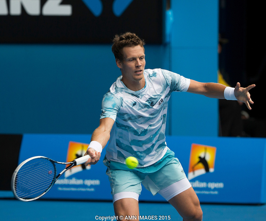 TOMAS BERDYCH (CZE)<br /> <br />  - Australian Open 2015 - Grand Slam -  Melbourne Park - Melbourne - Victoria - Australia  - 27 January 2015. <br /> &copy; AMN IMAGES