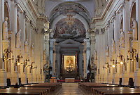 Nave and Presbytery, 18th century, Ferdinando Fuga, the Duomo (Cathedral) of Palermo, Sicily, Italy. 12th century cathedral encompassing a wide variety of architectural styles from Romanesque to Byzantine. Picture by Manuel Cohen