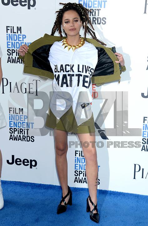 SANTA MONICA, 25.02.20-17 - SPIRIT-AWARDS -  Sasha Lane durante  Film Independent Spirit Awards em Santa Monica na California nos Estados Unidos (Foto: Gilbert Flores/Brazil Photo Press)