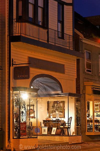 Antique store at night in Leesburg Virginia.