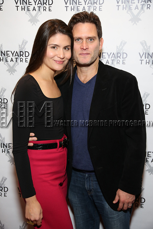 "Phillipa Soo and Steven Pasquale during the Opening Night Celebration for ""Good Grief"" at the Vineyard Theatre on October 28, 2018 in New York City."