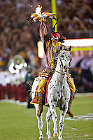September 22, 2012:   Florida State Seminoles mascot Chief Osceola rides on the field before the game between the Florida State Seminoles and the  Clemson Tigers at Doak S. Campbell Stadium in Tallahassee.