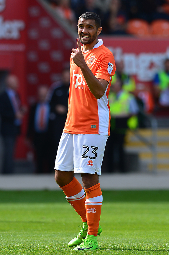 Blackpool's Colin Daniel gestures<br /> <br /> Photographer Richard Martin-Roberts/CameraSport<br /> <br /> The EFL Sky Bet League One - Blackpool v Milton Keynes Dons - Saturday August 12th 2017 - Bloomfield Road - Blackpool<br /> <br /> World Copyright &copy; 2017 CameraSport. All rights reserved. 43 Linden Ave. Countesthorpe. Leicester. England. LE8 5PG - Tel: +44 (0) 116 277 4147 - admin@camerasport.com - www.camerasport.com