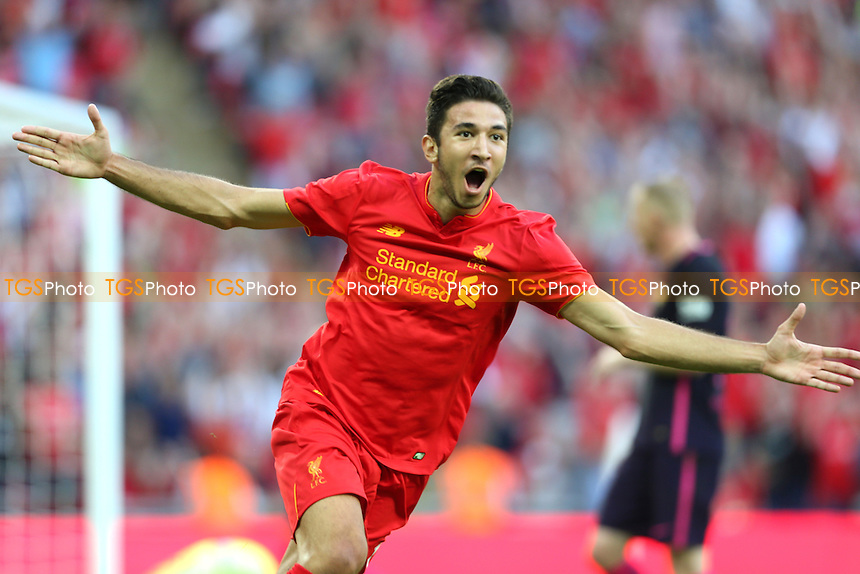 Marko Grujic of Liverpool celebrates scoring the 4th of the game during Liverpool vs FC Barcelona, International Champions Cup Football at Wembley Stadium on 6th August 2016