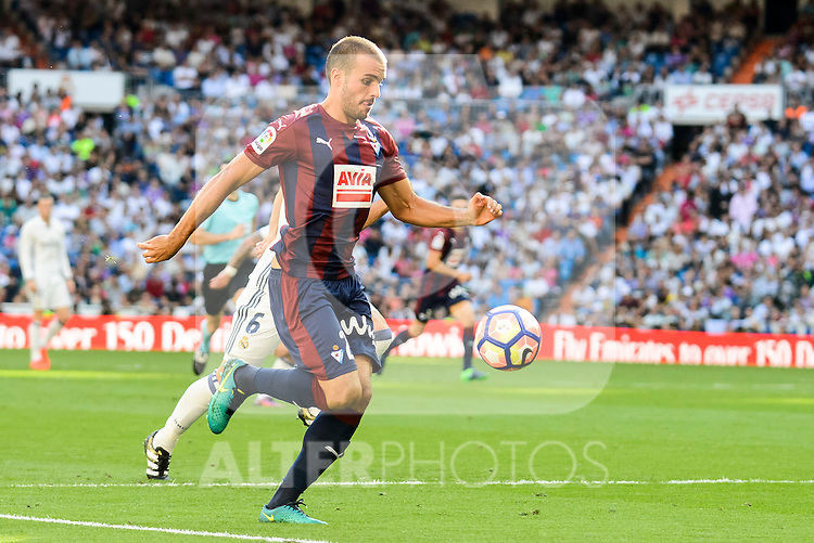 Eibar FC's player Pedro Leon Sanchez during a match of La Liga Santander at Santiago Bernabeu Stadium in Madrid. October 02, Spain. 2016. (ALTERPHOTOS/BorjaB.Hojas)