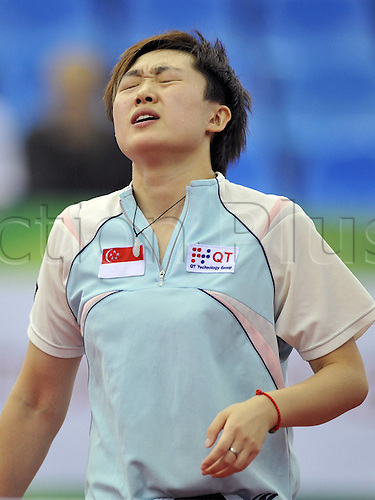 28 05 2010   MOSCOW May 28 2010  Feng Tianwei of Singapore reacts during The Quarter finals Match Against Petra Lovas of Hungary AT The 50th World team Table Tennis Championships in MOSCOW Capital of Russia ON May 28 2010 Singapore Beat Hungary by 3 0  Tao  lyj 2  Singapore vs Hungary