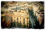 View of the city of Seville from the top of the Giralda tower. Tilted lens used for a shallower depth of field.